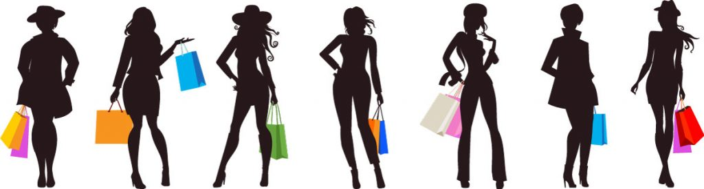 Women shoppers holding bags